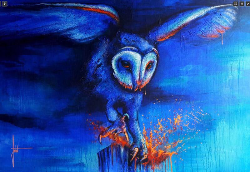SANDROT Hibou-peinture-sur-toile