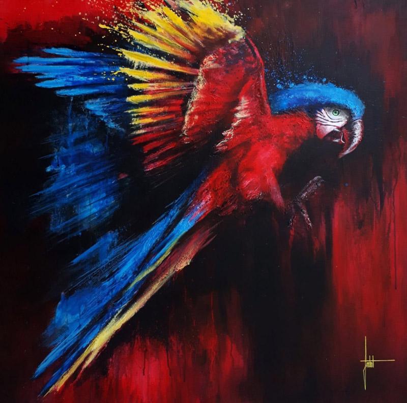 SANDROT Perroquet-peinture-sur-toile